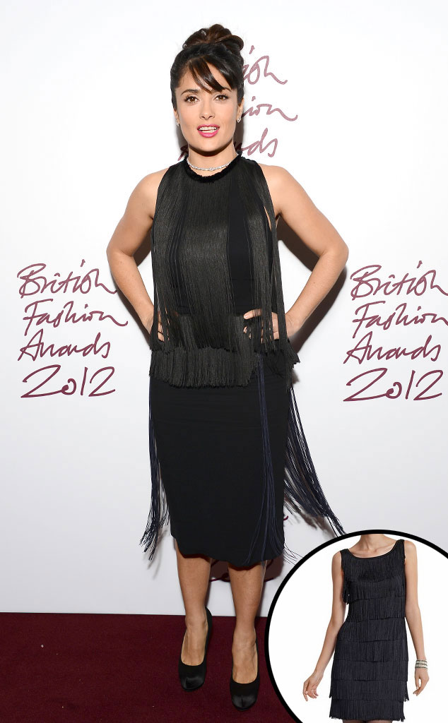 Salma Hayek, Black Tiered Fringe Dress