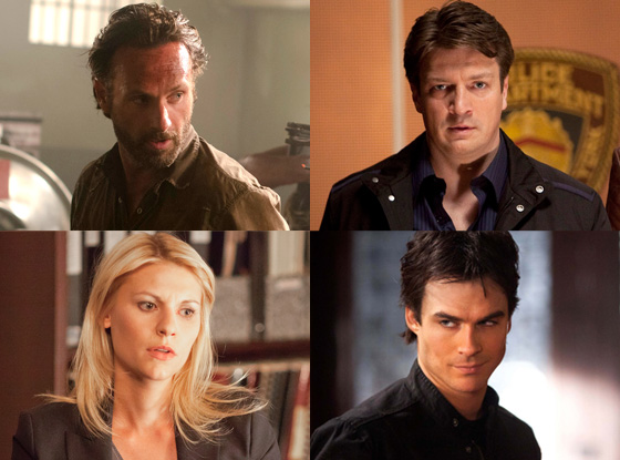 Nathan Fillion, Castle Claire Danes, Homeland Andrew Lincoln, Walking Dead Ian Somerhalder, The Vampire Diaries