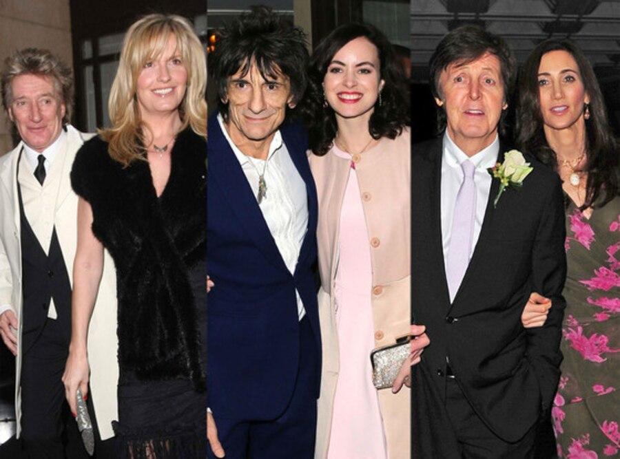 Ronnie Wood, Sally Humphreys, Rod Stewart, Penny Lancaster, Paul McCartney, Nancy Shevell