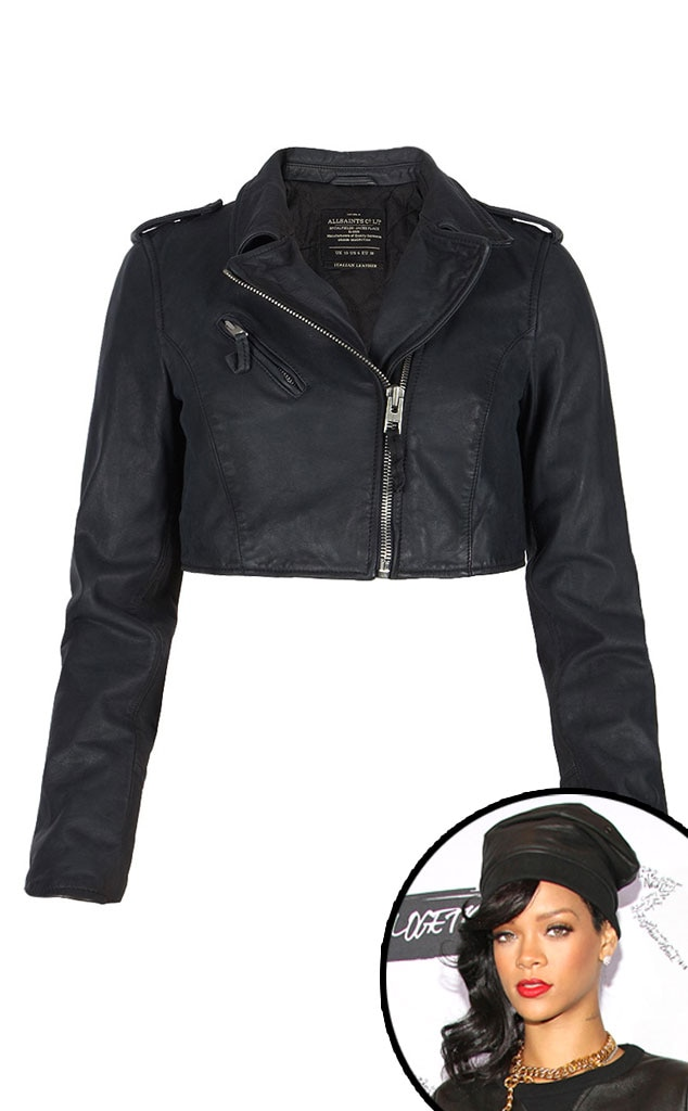Rihanna, AllSaints Cropped Escape Biker Jacket