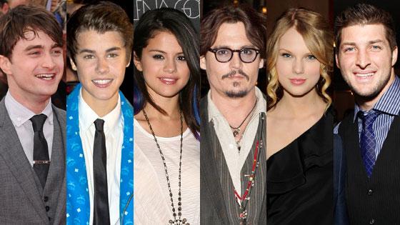 Tim Tebow, Taylor Swift, Selena Gomez, Justin Bieber, Johnny Depp, Daniel Radcliffe