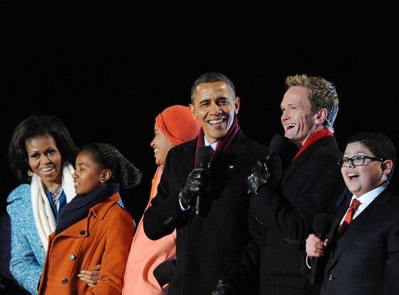 Neil Patrick Harris, Rico Rodruguez, Barack Obama, Michelle Obama, Malia Obama, Sasha Obama