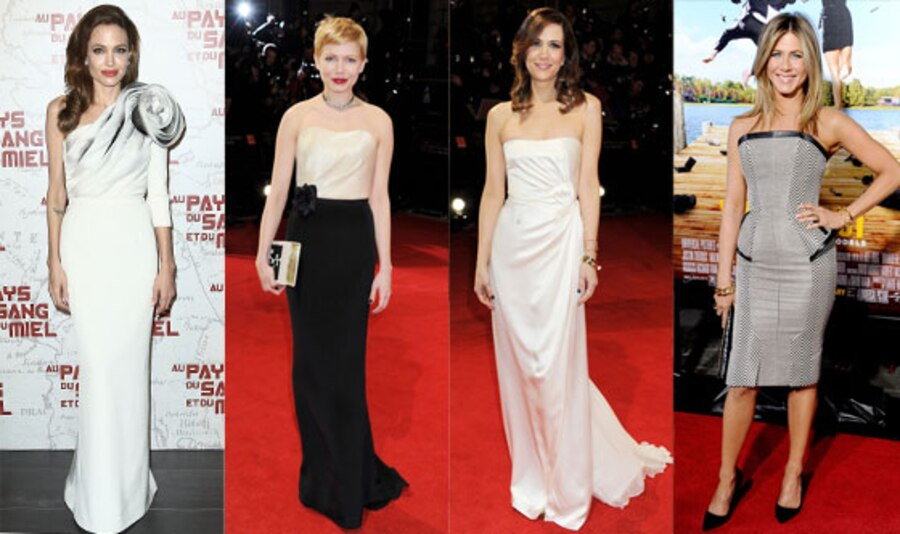 Jennifer Aniston, Angelina Jolie, Michelle Williams, Kristen Wiig