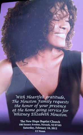 Whitney Houston Funeral Invite