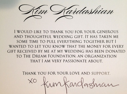 Kim Kardashian Makes Donation to Charity for Wedding Gifts ...