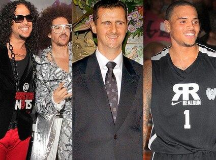 LMFAO, Bashar al-Assad, Chris brown