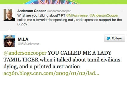 Anderson Cooper, M.I.A., Twitter