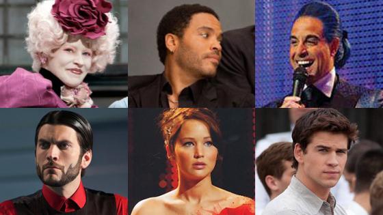 Elizabeth Banks, Lenny Kravitz, Stanley Tucci, Wes Bentley, Jennifer Lawrence, Liam Hemsworth