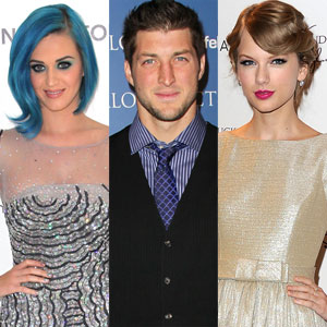 Katy Perry, Tim Tebow, Taylor Swift