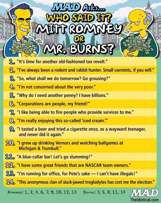 Who Said It Mr. Burns Mitt Romney Soup X2