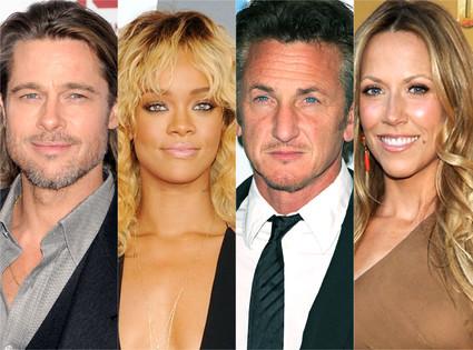 Brad Pitt, Rihanna, Sean Penn, Sheryl Crow