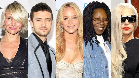 Cameron Diaz, Justin Timberlake, Jennifer Lawrence, Whoopi Goldberg, Lady Gaga