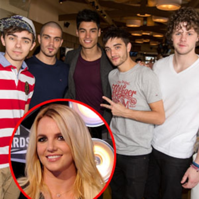 The Wanted, Nathan Sykes, Max George, Siva Kaneswaran, Tom Parker, Jay McGuiness, Britney Spears
