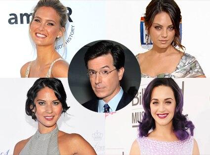 Stephen Colbert, Bar Refaeli, Mila Kunis, Olivia Munn, Katy Perry