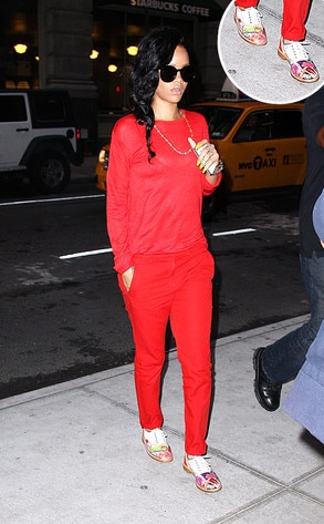 Rihanna's See-Through Red Shirt and Bowling Shoes in NYC: Gotta ...