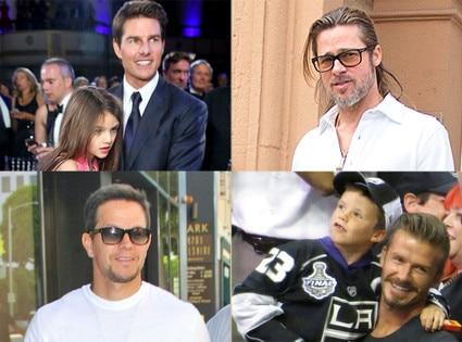 Brad Pitt, David Beckham and son, Mark Wahlberg. Tom Cruise, Suri Cruise