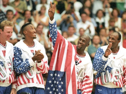 Awesome Olympians, Larry Bird, Scottie Pippen, Michael Jordan, Cyde Drexler, Dream Team