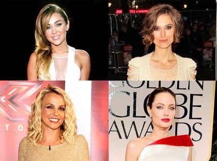 Keira Knightley, Miley Cyrus, Angelina Jolie, Britney Spears