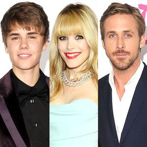 Justin Bieber, Rachel McAdams, Ryan Gosling