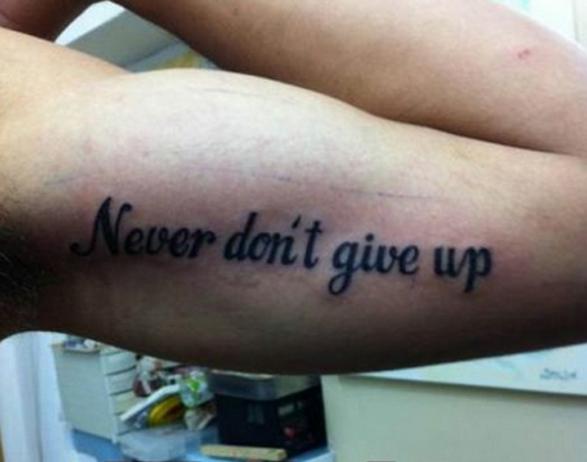 Never Don't Give Up Tattoo Soup X2