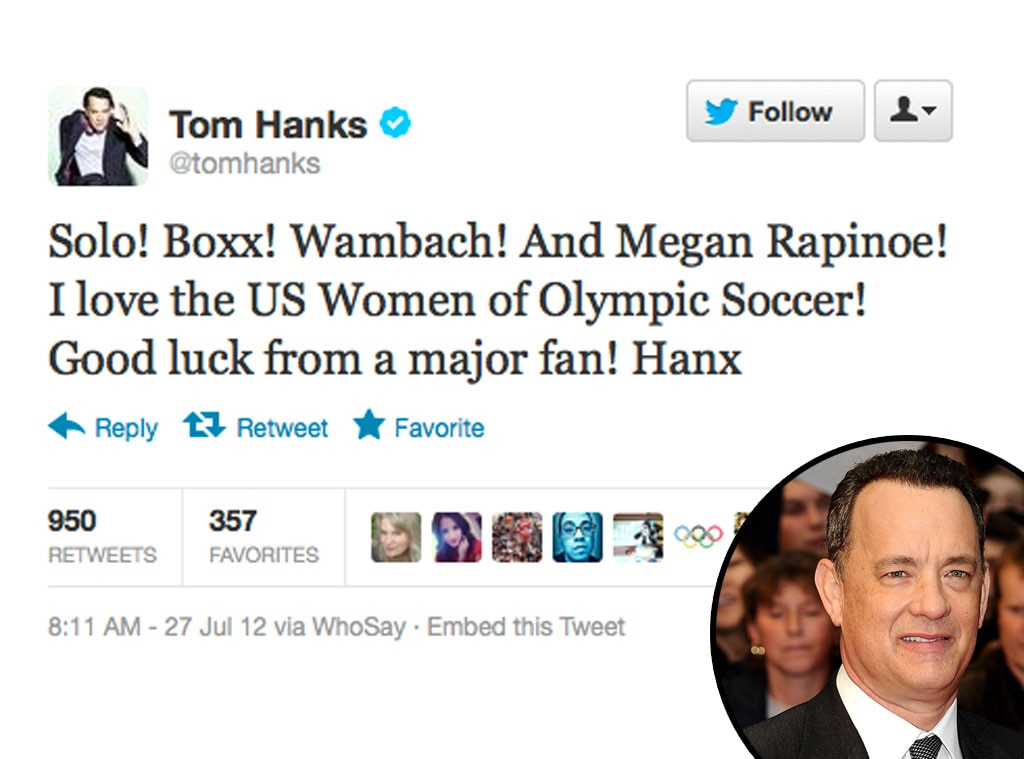 Olympic Tweets, Tom Hanks
