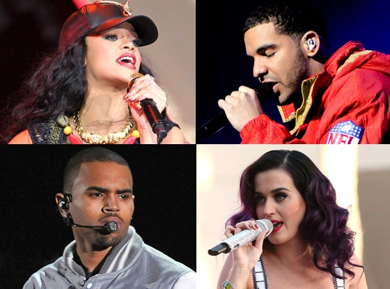 Rihanna, Katy Perry, Drake, Chris Brown