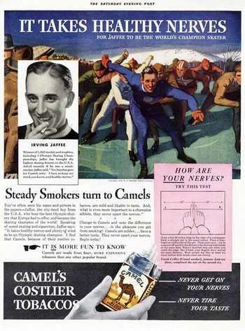 Olympics in Pop Culture, Camels ad, Irving Jaffee