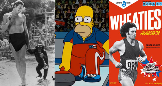 Olympics in Pop Culture, Simpsons Curling, Wheaties Bruce Jenner, Johnny Weissmuller, chimpanzee Cheetah