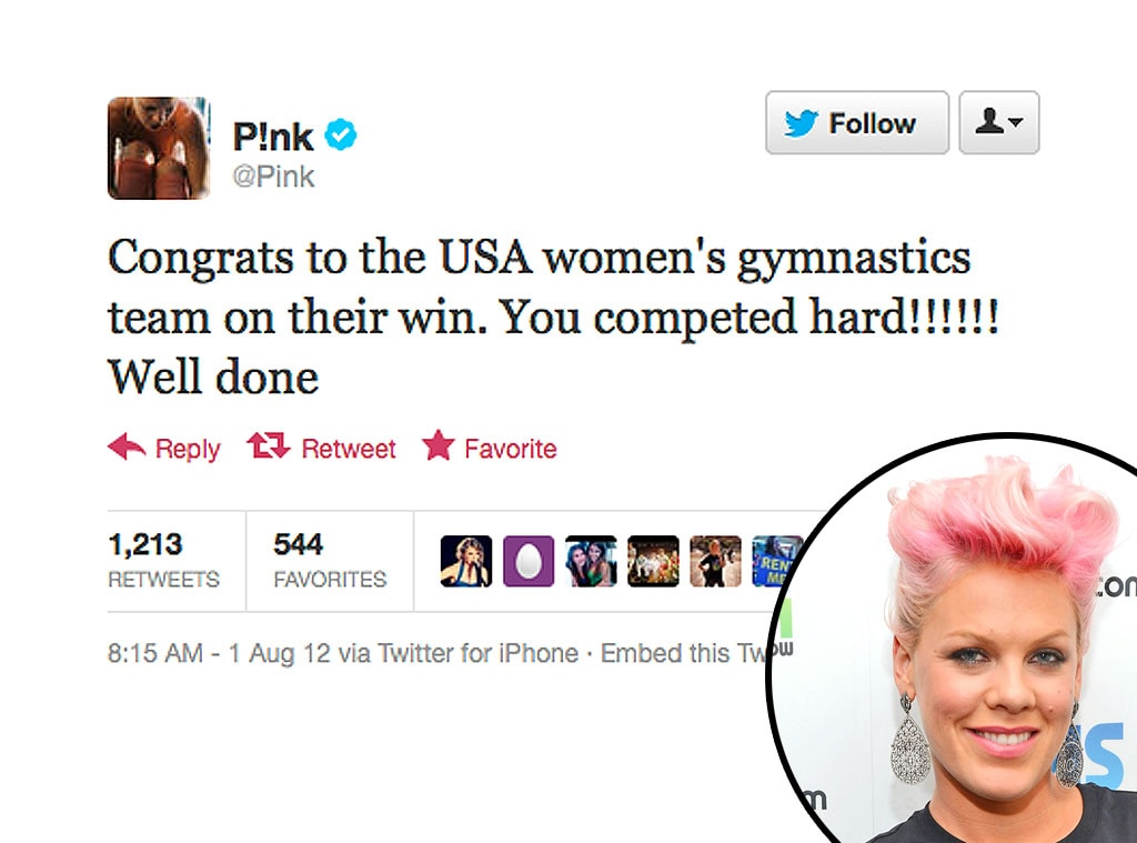Olympic Tweets, P!nk, Pink
