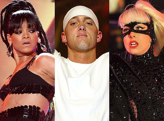 Rihanna, Eminem, LadyGaga
