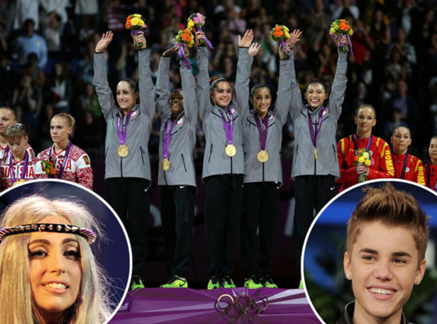 U.S. Women's Gymnastic Team, Lady Gaga, Justin Bieber