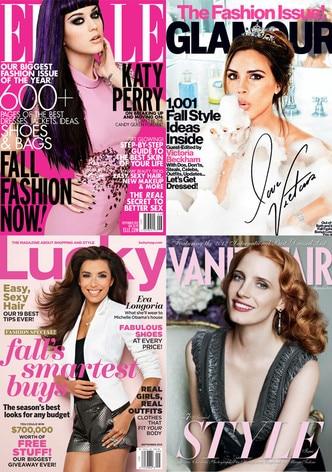 Vanity Fair, Glamour, Lucky, Elle, September Covers