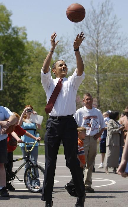 Celebs as Olympians, Barack Obama