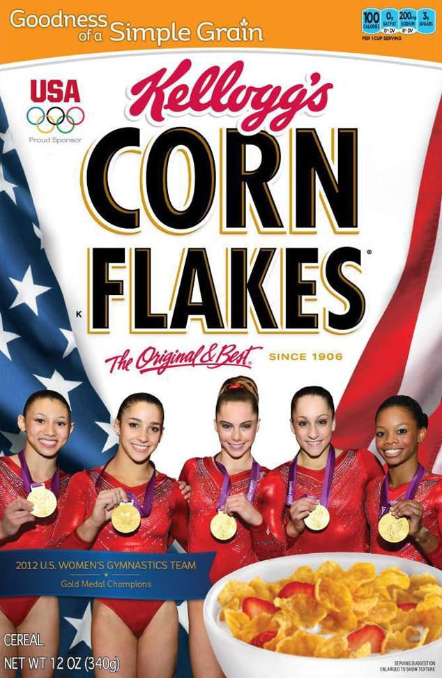 Fierce Five, Corn Flakes Box, Gabby Douglas, McKayla Maroney, Aly Raisman, Kyla Ross, Jordyn Wieber