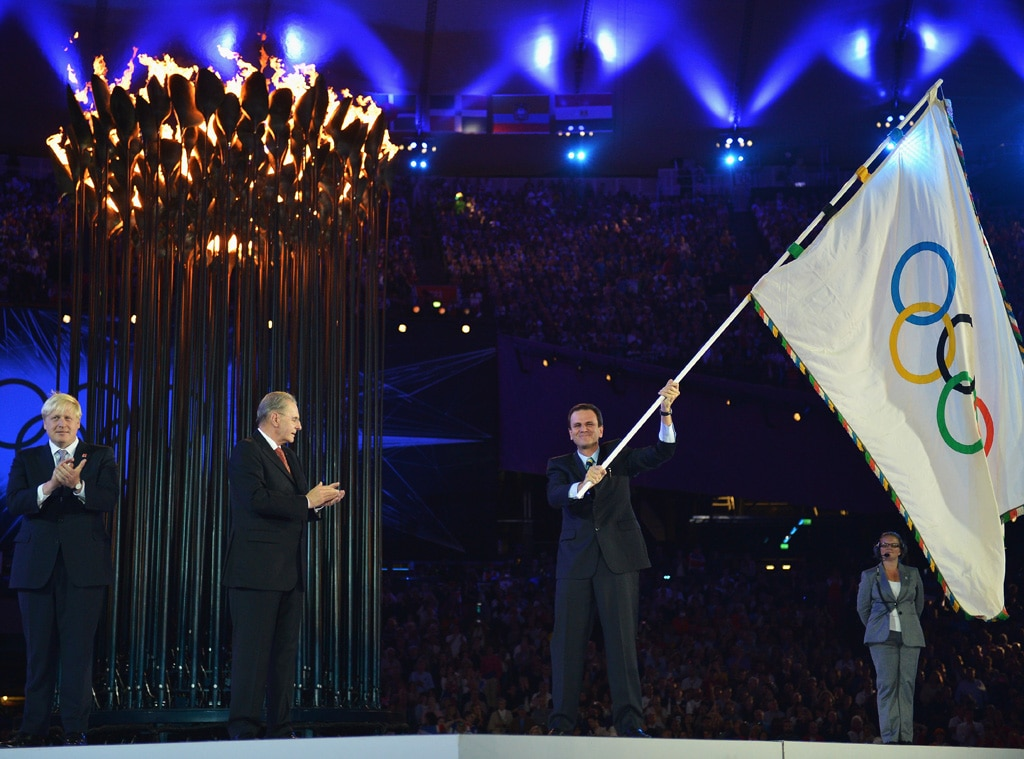 Closing Ceremony London 2012 Olympic Games, Mayor of London, Boris Johnson, IOC President Jacques Rogge, Mayor of Rio de Janeiro, Eduar