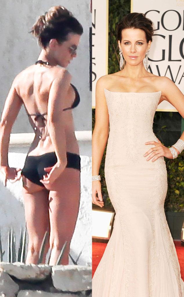 Kate Beckinsale, Bikini vs Red Carpet