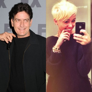 Miley Cyrus Twit Pic, Charlie Sheen