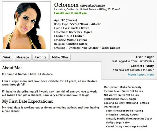 Octomom Dating Profile Soup X2