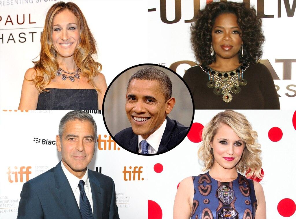 Barak Obama, George Clooney, Sarah Jessica Parker, Oprah Winfrey, Dianna Agron