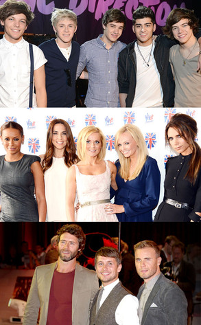 One Direction, Spice Girls, Take That