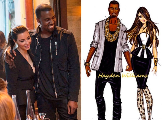 Kim Kardashian, Kanye West, Fashion Drawing