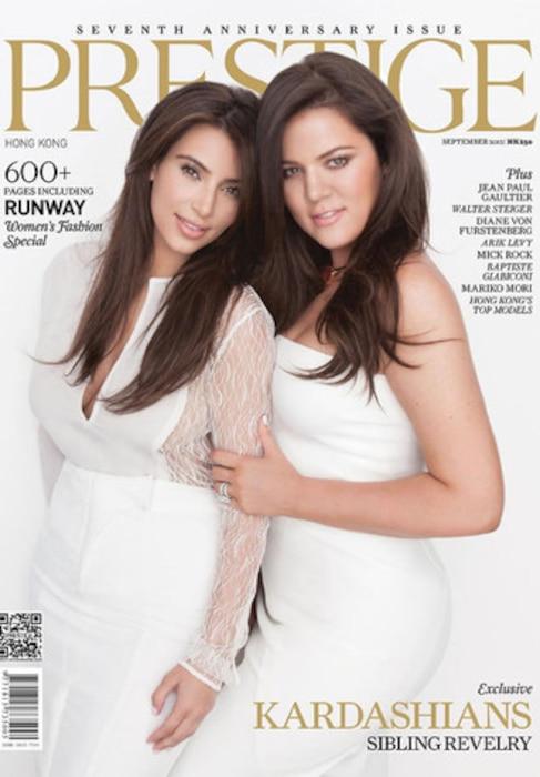 Kim Kardashian, Khloe Kardashian Odom, Prestige Magazine cover