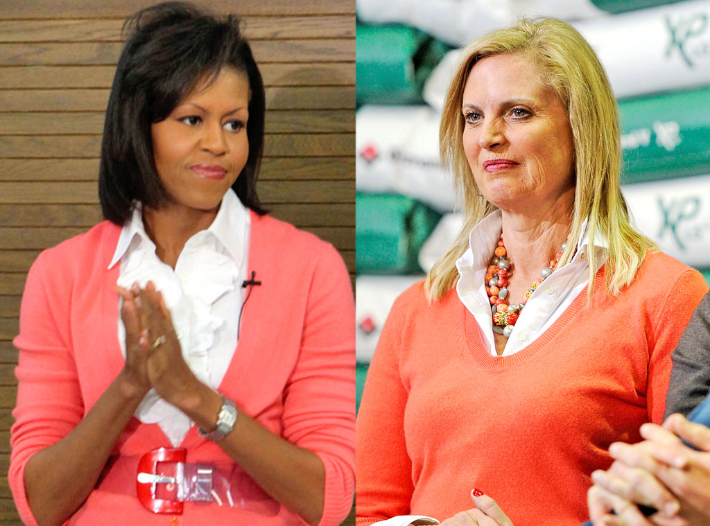 Michelle Obama, Ann Romney, Peach sweaters