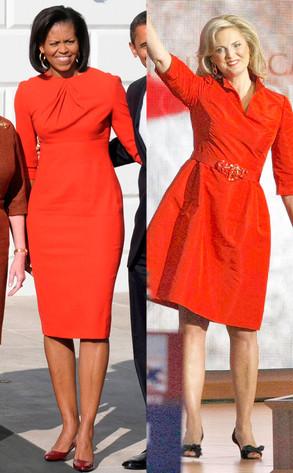 Michelle Obama, Ann Romney, Red dresses