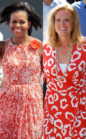 Michelle Obama, Ann Romney, Red floral dresses