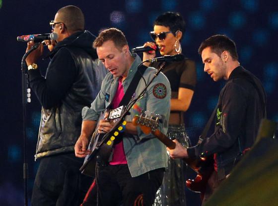 Rihanna, Jay-Z, Chris Martin, Guy Berryman of Coldplay