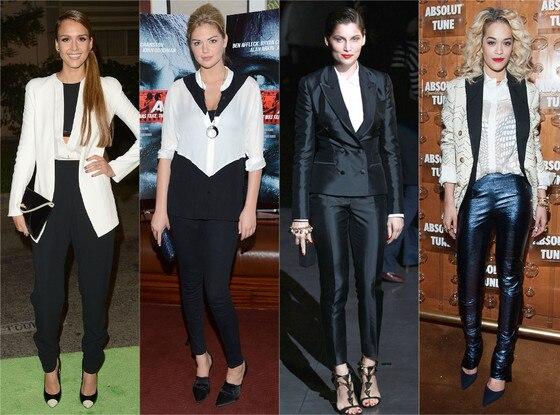 Jessica Alba, Kate Upton, Laetitia Casta, Rita Ora, Tuxedo Look