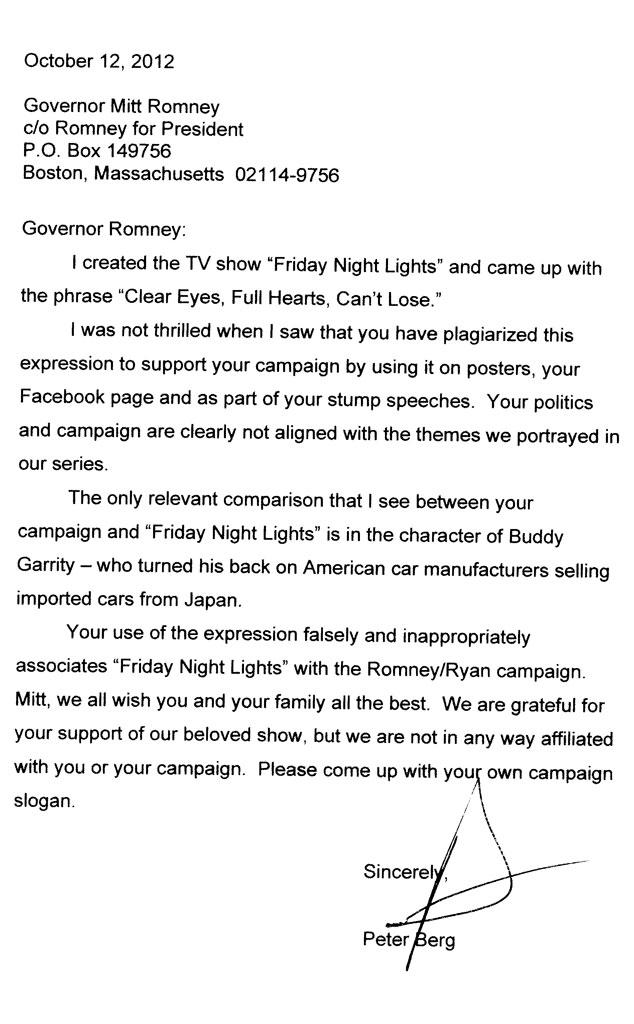 Peter Berg, Mitt Romney, Letter