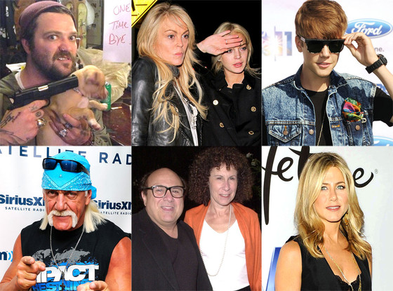 Justin Bieber, Hulk Hogan, Lindsay Lohan, Dina Lohan, Bam Margera, Jennifer Aniston, Danny DeVito, Rhea Perlman