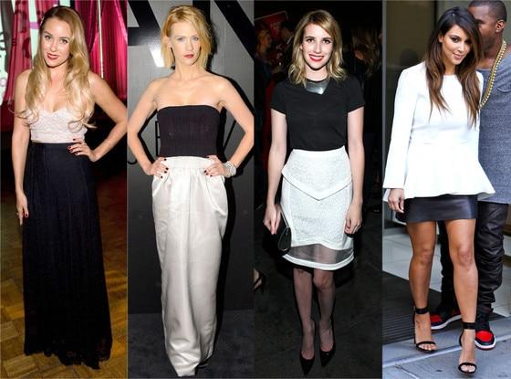Black White Trend, Lauren Conrad, January Jones, Emma Roberts, Kim Kardashian